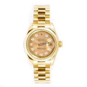 Rolex Lady-Datejust 26 Gold Dial 18k Yellow Gold Luxury President Automatic Watch