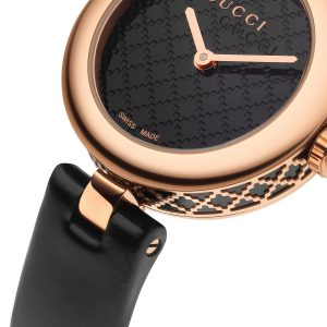 best luxury watches under - Gucci Diamantissima Womens Quartz Watch Black Leather Strap YA141501
