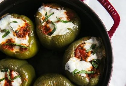 white bean turkey and spinach stuffed peppers