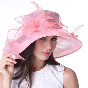 Kentucky Derby Day Celebrations and Preparations - June's Young Women Organza Race Hat With Ruffles And Feathers