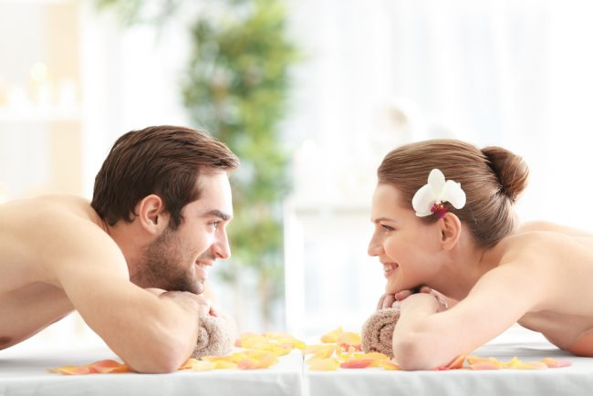 advanced skin care - couple relaxing at spa