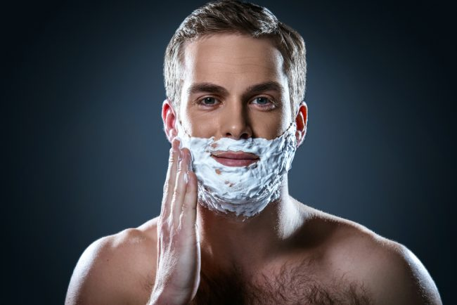 wet shaving supplies - man foam on face