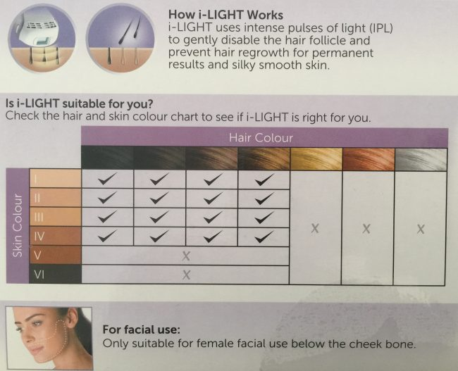 laser hair removal at home - Remington iLight color chart