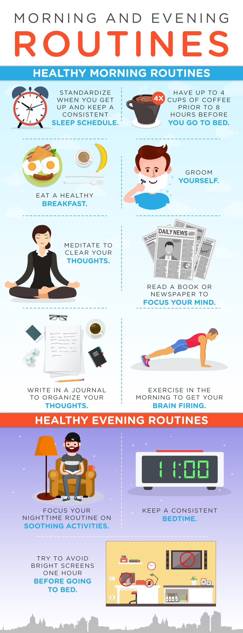 Morning and Evening Routines Infographic - work life balance