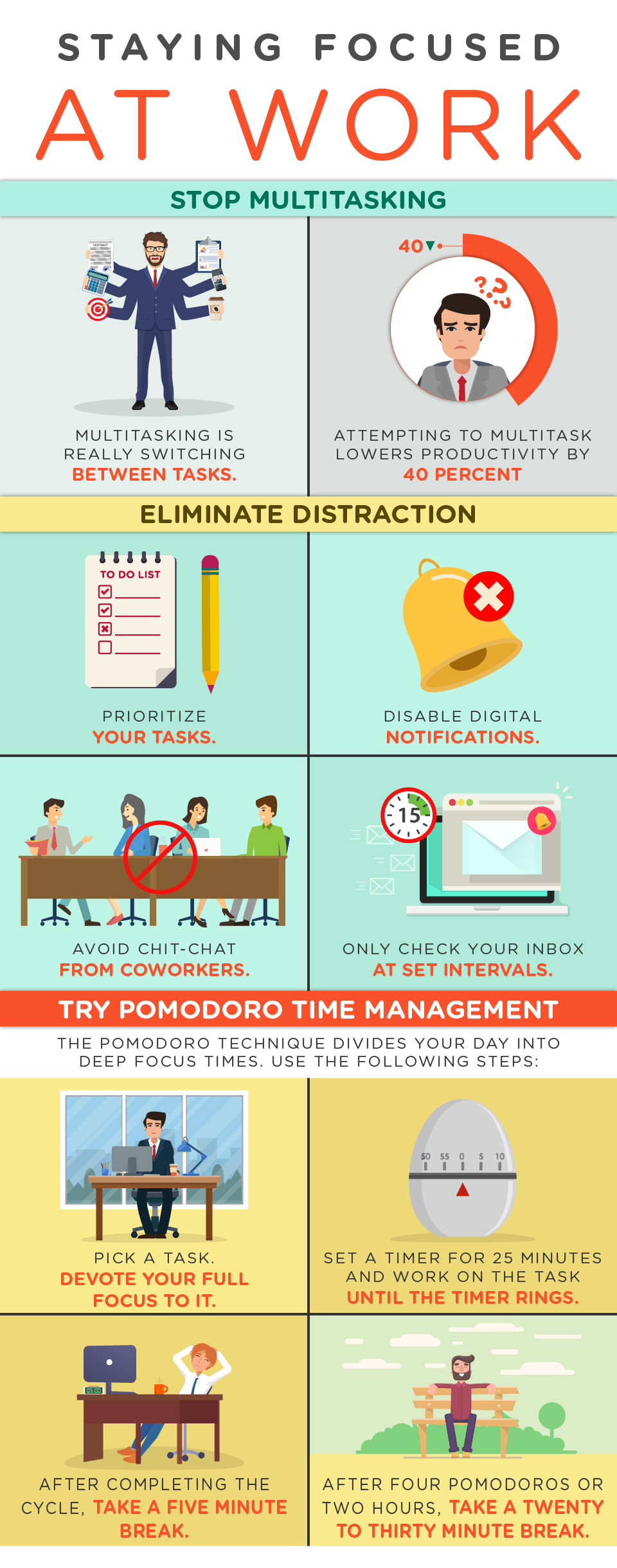 Staying Focused at Work Infographic - work life balance