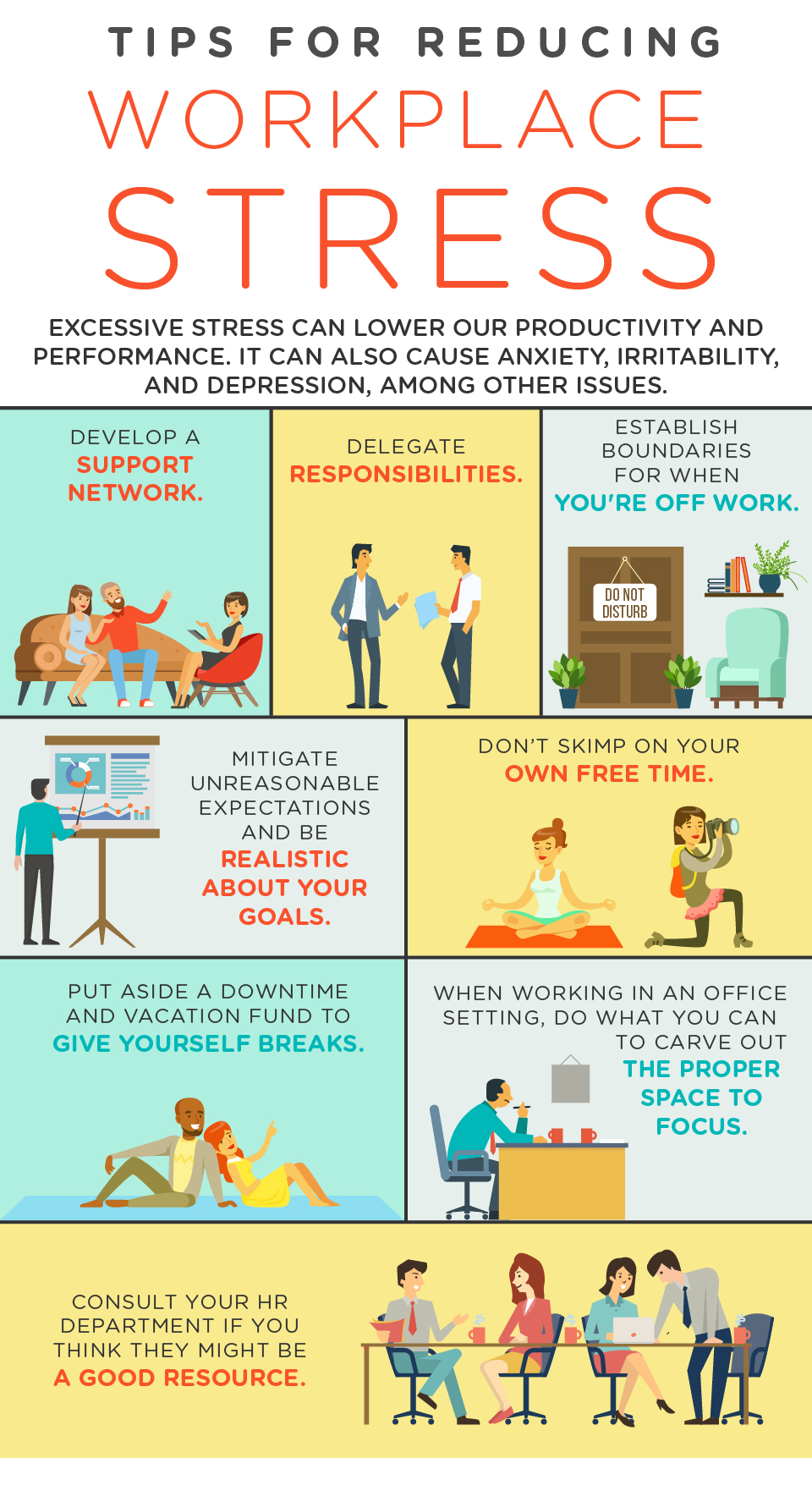 Tips for Reducing Workplace Stress Infographic - work life balance