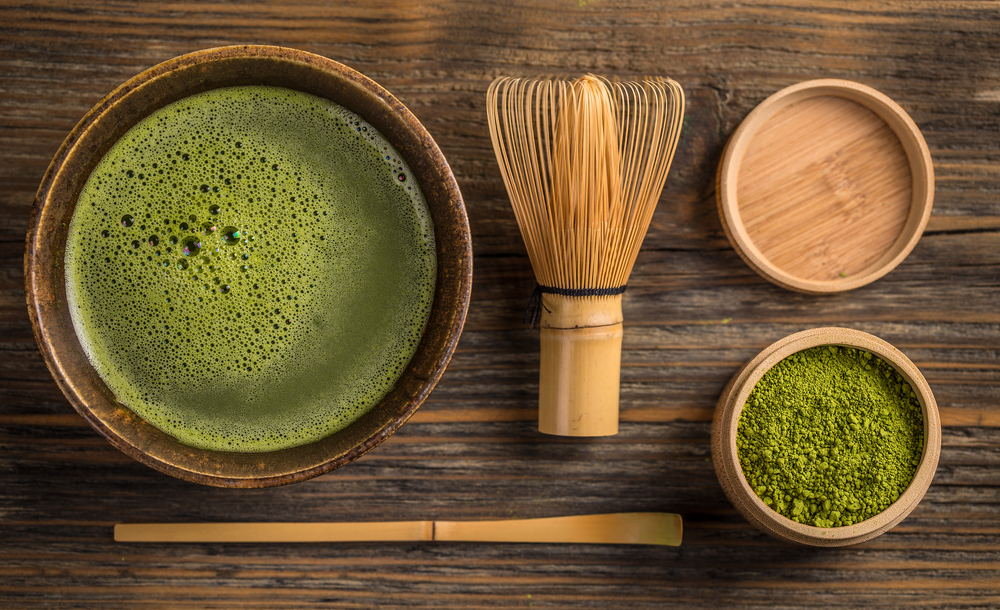 Traditional green tea matcha preparation
