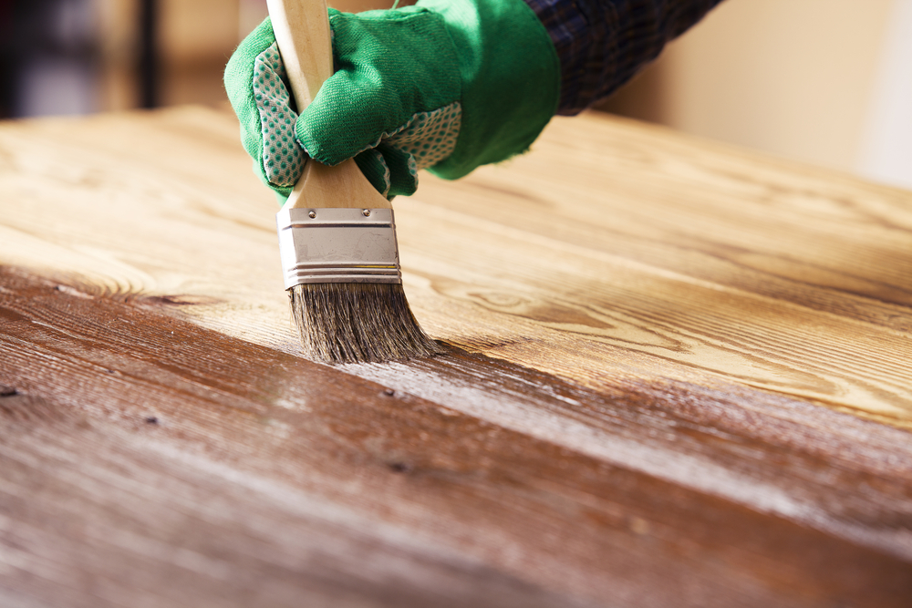 wood countertop staining